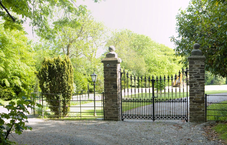 entrance gates to the renovated house