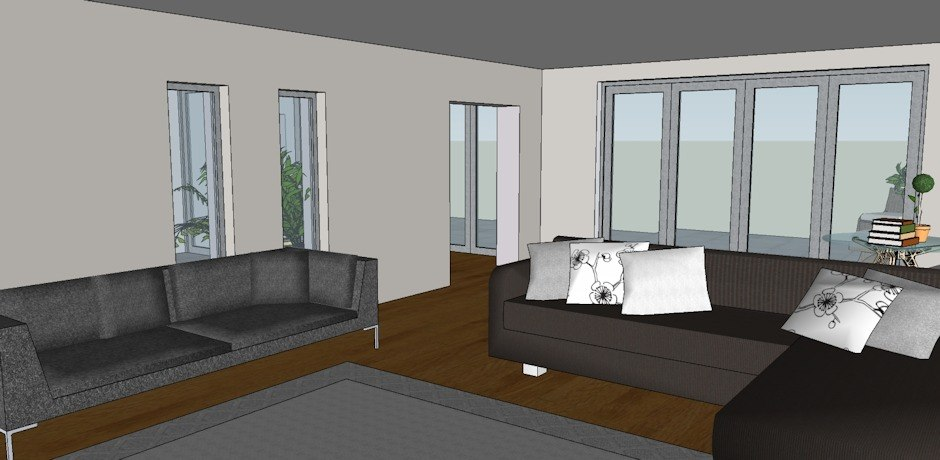 Living room layout in 3D format