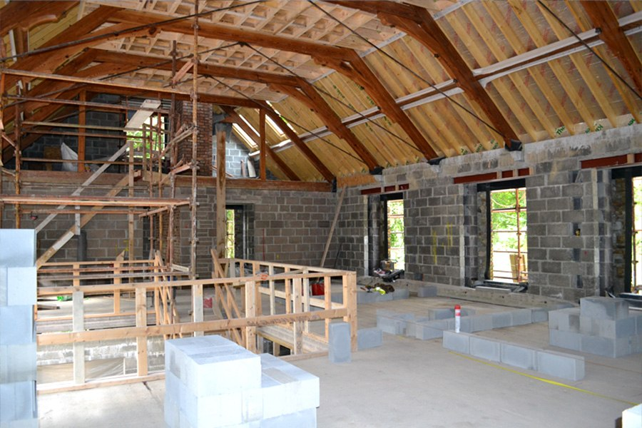 reclaimed timber trusses interior new build warm roof system cork