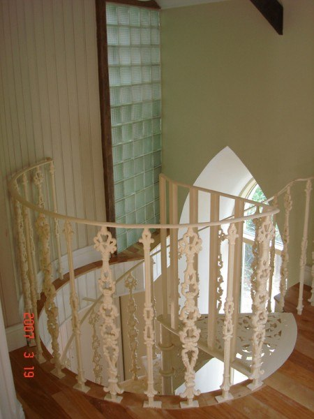 Salvaged spiral staircase
